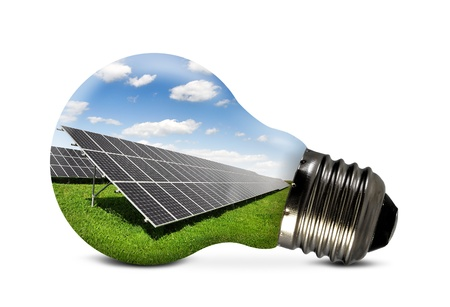 photovoltaic: Bulb with of solar panel  Stock Photo
