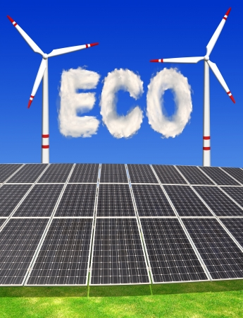 silicium: Solar energy panels and wind turbines with eco from clouds  Stock Photo