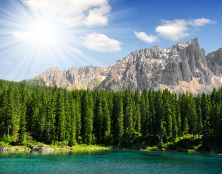 Carezza lake, Val di fassa, Dolomites, Alps, Italy  photo