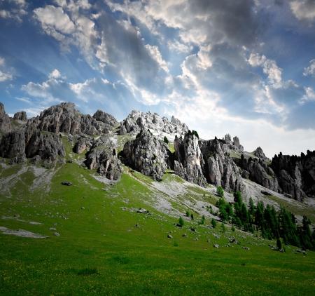Dolomite peaks, Rosengarten,Val di Fassa, Italy Alps Stock Photo - 14866047