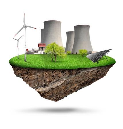 central el�ctrica: peque�a isla con una planta de energ�a nuclear, panel solar y las turbinas e�licas aisladas