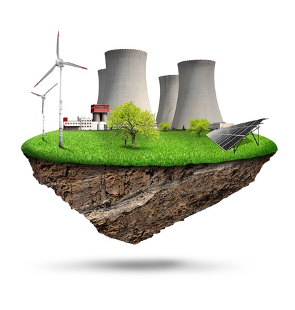 nuclear power plant: small island with a nuclear power plant, solar panel and wind turbines isolated