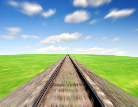 rapidity: railway in spring landscape Stock Photo