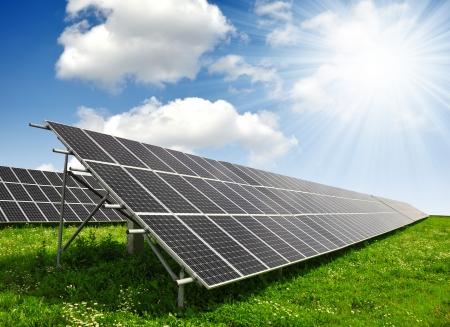 power of savings: Solar energy panels  Stock Photo