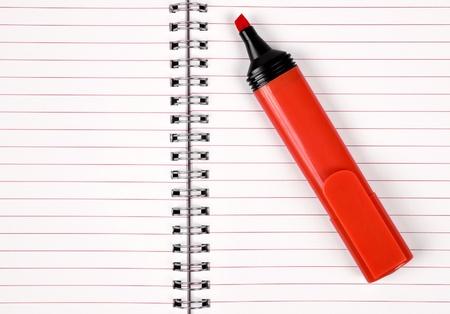 workbook: workbook with red felt-tip