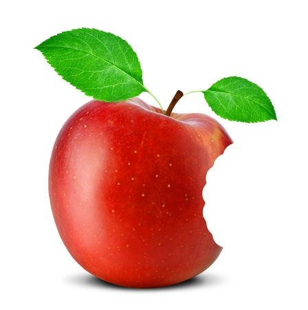 bitten red apple isolated on white photo
