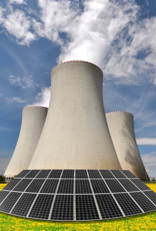 Solar energy panels before a nuclear power plant  Stock Photo - 15149095