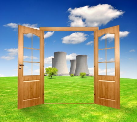 Open the door to the spring landscape with nuclear power plant photo