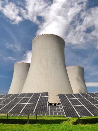Solar energy panels before a nuclear power plant Stock Photo - 15238694