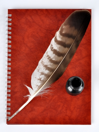 a literary sketch: Feather with ink bottle and workbook