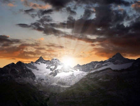 european alps: sunrise on the Ober Gabelhorn - Swiss Alps