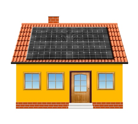 solar panel roof: small house with solar panel isolaed on white background