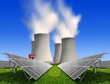 Solar energy panels before a nuclear power plant  Stock Photo - 15419869