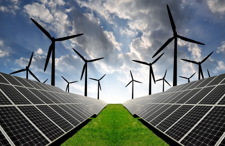power of savings: solar energy panels and wind turbine