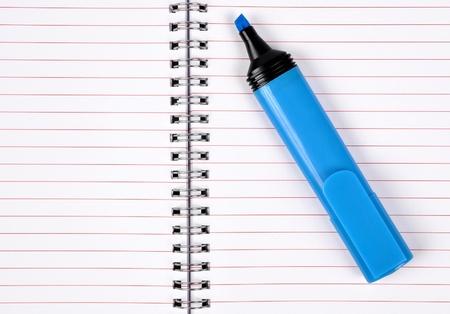 workbook: workbook with blue felt-tip