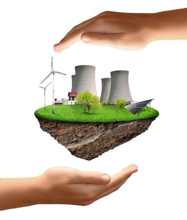 Kleine Insel mit Atomkraftwerk, Windturbinen und Solarzellen