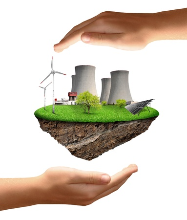ahorro energia: Pequeña isla con una planta de energía nuclear, turbinas de viento y paneles solares