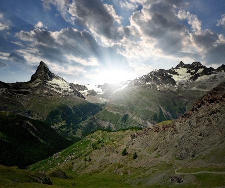 sunset above the Matterhorn and  Ober Gabelhorn - Swiss Alps  photo