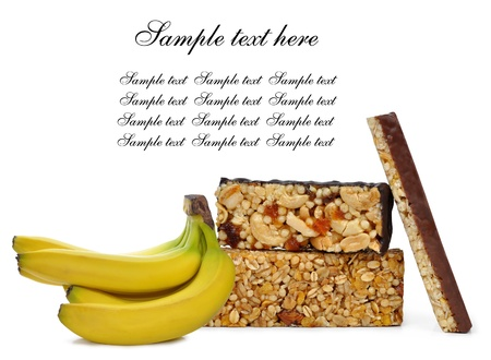 Chocolate Muesli Bars with banana isolated on white background  photo