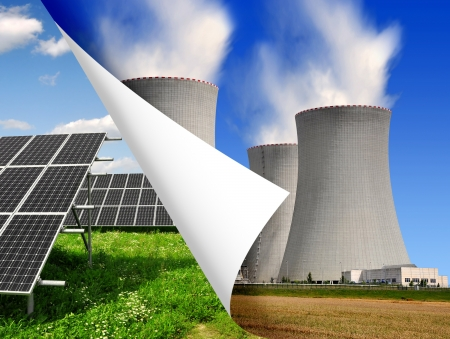 Solar panels and nuclear power plant  Stock Photo - 15661442