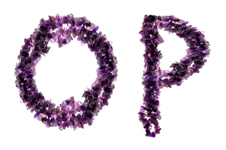 amethyst rough: Alphabet from Purple amethyst crystals  Stock Photo