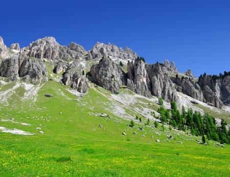 Dolomite peaks, Rosengarten,Val di Fassa, Italy Alps Stock Photo - 15647496