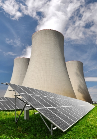 Solar energy panels before a nuclear power plant  Stock Photo - 15735936