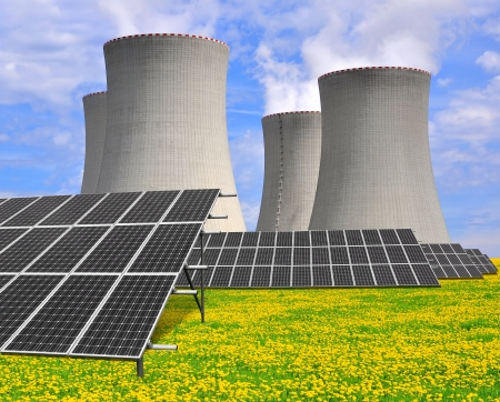 Solar energy panels before a nuclear power plant Stock Photo - 15724888
