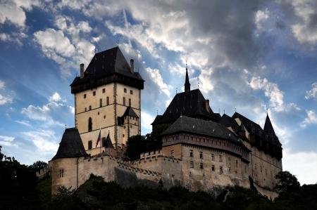 crenelation: Sunset above the royal castle Karlstejn in Czech Republic