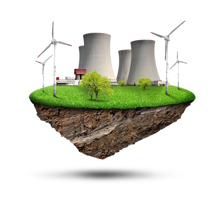 outdoor electricity: Little island with nuclear power plant and wind turbines