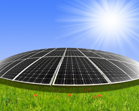 silicium: Solar energy panels against sunny sky - fisheye shot