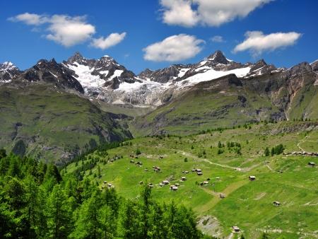 zermatt: Beautiful mountain Ober Gabelhorn and Zinalrothorn - Swiss alps