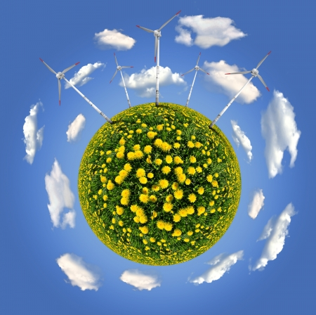 planet with wind turbines  photo