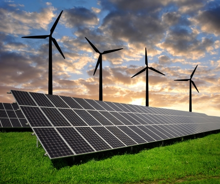 outdoor electricity: solar energy panels and wind turbine