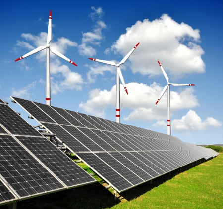 solar wind: solar energy panels and wind turbine