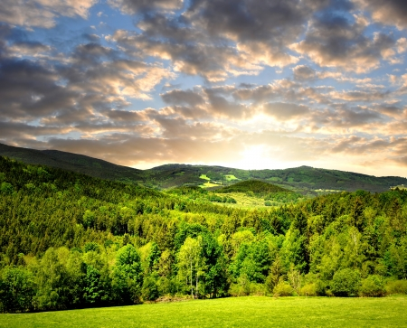 clearing: sunset over the national park Sumava in Czech Republic