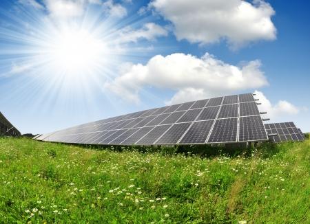 energy costs: Solar energy panels  Stock Photo