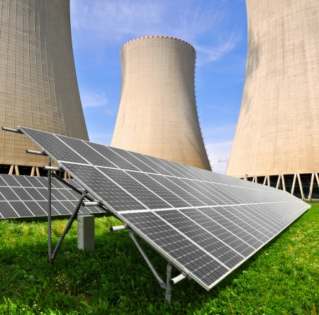 Solar energy panels before a nuclear power plant Stock Photo - 15694117