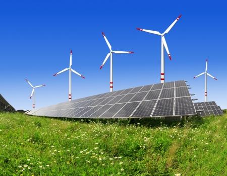 Alternativ: solar energy panels and wind turbine