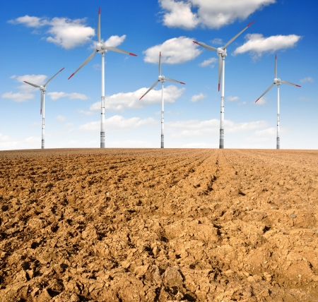 spring field with wind turbines Stock Photo - 15688419