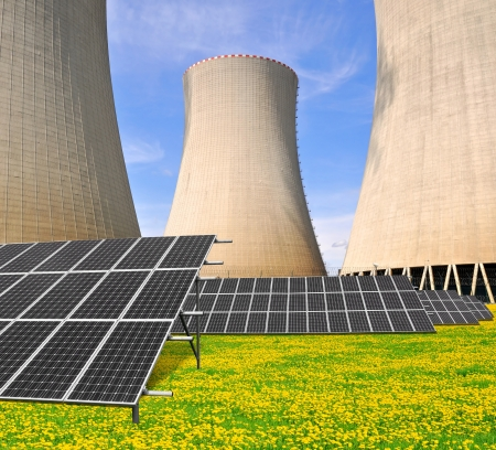 Solar energy panels before a nuclear power plant Stock Photo - 15677075