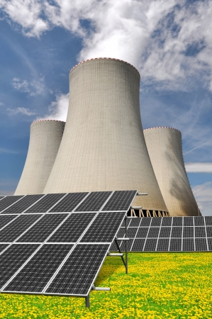 Solar energy panels before a nuclear power plant  Stock Photo - 15646300