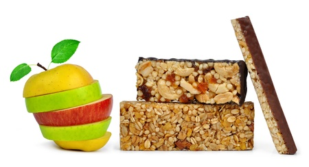Chocolate Muesli Bars with fruit mix isolated on white background  photo