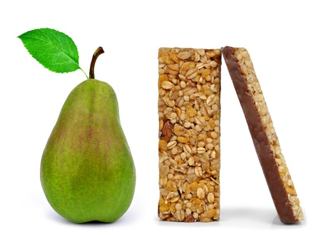 Chocolate Muesli Bars with pear isolated on white background  photo