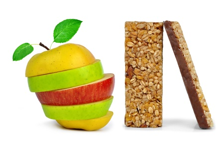 roughage: Chocolate Muesli Bars with apple mix isolated on white background