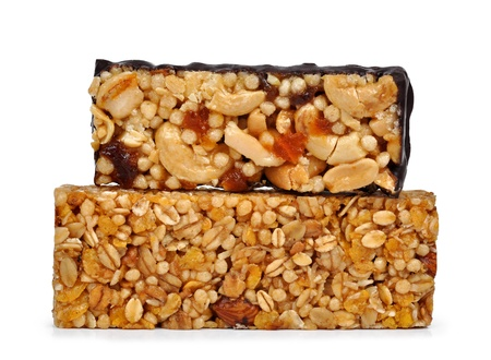 Chocolate Muesli Bars isolated on white background  photo