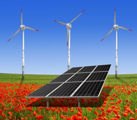 solar energy panels and wind turbine on the poppy field  photo