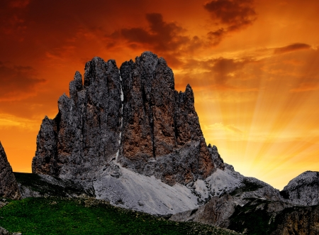 fassa: Dolomite peaks, Rosengarten,Val di Fassa, Italy Alps