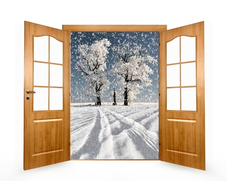Open the door to the winter landscape photo