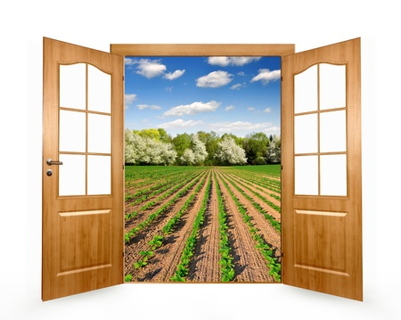 Open the door to the spring landscape  photo